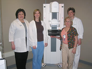 mammography technologists with equipment